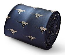 Frederick Thomas Designer Cravate Hommes - Foncé Bleu Marine - Brodé Guépard