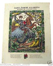 GRABADO XILOGRAFÍA GRAVAT SANT JORDI GLORIÒS JORGE CANYELLAS 1925 SAINT GEORGE