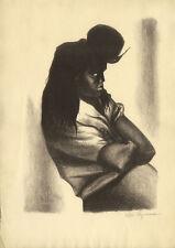 1947 Litho Jose Ignacio Aguirre Mexican Girl Mujer en la Cola del Carbon, Signed