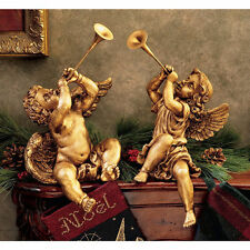 Boy and Girl Trumpeting Angels of St. Peter's Square Gold Statue Christmas Decor