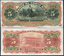 COSTA RICA 5 COLONES 1908 P S173R , S 173 R UNC LITTLE TONE
