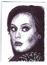 ACEO Art Sketch Card Musician Adele Laurie Blue Adkins B