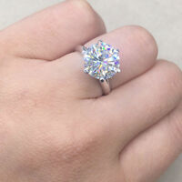 Solid 14K White Gold FN 4Ct Round Cut Solitaire Moissanite Engagement Ring