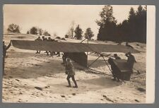 [51707] Old Real Photo Postcard (Rppc) Monoplane Being Pulled Up Snowy Mountain