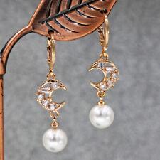 "18K Gold Filled 1.5"" Earrings Hollow crescent moon Topaz Pearl Pendant Women L8"