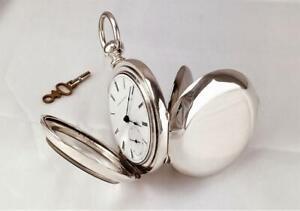 1870 Elgin G.M.WHEELER 11J Key Wind Pocket Watch in FINE SILVER CASE  18s - RUNS