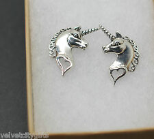 Cute Unusual 925 Solid Sterling Silver Unicorn Stud Earrings