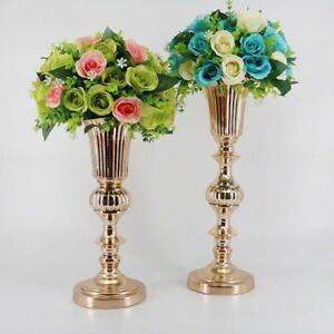 Tabletop Flower Vase Metal Golden 50cm Table Centerpiece Home Wedding Decoration