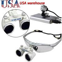 USA 3.5X 420mm Dental Surgical Medical Binocular Loupes + LED Head Light Lamp A+