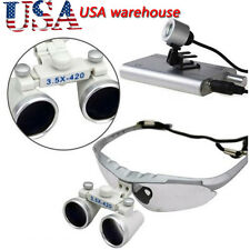 USA 3.5X 420mm Dental Surgical Medical Binocular Loupes + LED Head Light Lamp A+