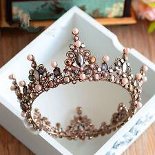 Pageant Full Round Tiara Bridal Crown Wedding Rhinestone Headpiece Hair Jewelry