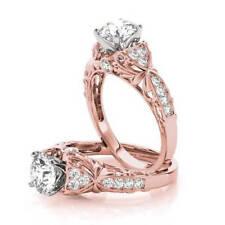 Diamond Engagement Ring Rose Gold Forever Brilliant Moissanite Filigree Floral