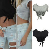 Top estivi da donna Top annodato Tops Crop Tops Cropped T Shirt Casual Blouse qw