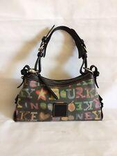 Dooney & bourke Black Multi Color Signature Leather Trim Small Satchel Purse Bag