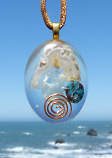 VORTEX Fluorite, Turquoise and Oco Positive Energy Orgone Pendant.