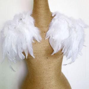Ladies Shawl Collar Cape Wrap Feather Fringe Party Stylish Jazz Evening White