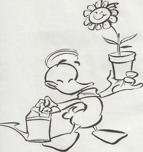 """Originalzeichnung von Harald Siepermann Alfred J. Kwak """"mit Blume"""" groß Feder ?"""