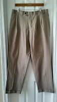 Lauren Ralph Lauren Chino Pants Mens W36 L32 Pleated Front Cuffed Beige Cotton