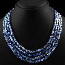 FINEST TOP CLASS 375.00 CTS NATURAL 4 LINE RICH BLUE TANZANITE BEADS NECKLACE