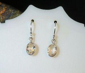 Elegant clean natural pale Peach Morganite 5x7mm solid silver hook earrings 🍑