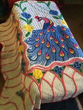 Peacock Chenille Pink Floral Queen King Vintage Bedspread Unique Soft Cotton