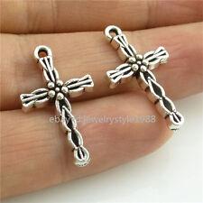 14376*40PCS Mini Faith Religions Cross Pedant Charm Alloy Antique Silver Vintage