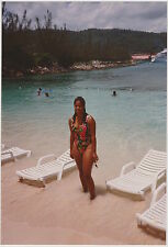 Vintage 80s PHOTO Young Black Woman Girl In Swimsuit At Beach