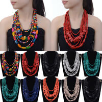 Fashion Pendant Jewelry Chain Wood Wooden Beads Chunky Statement Bib Necklace
