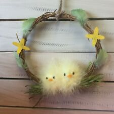 17cm Small Wicker Easter Wreath Ring Decoration Yellow Fluffy Chicks Hanging