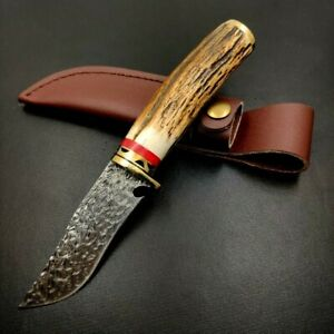 Handmade Trailing Point Knife Hunting Wild Tactical Damascus Steel Antler Handle