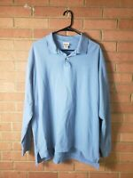 LL Bean Mens Polo Long Sleeve Shirt Light Blue Size Large Tall
