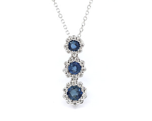 Natural Three Round Blue Sapphire and Diamond 14K Solid White gold Necklace