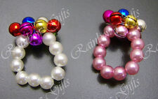 STRETCHY FINGER RINGS BEADED BELL RINGS PAIR OF FASHION RINGS PINK OR IVORY