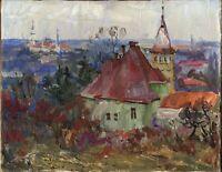 """Russischer Realist Expressionist Öl Leinwand """"Frischer Wind"""" 50 x 38 cm"""