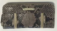 NEW MICHAEL KORS MOXLEY DARK SAND PYTHON LEATHER+GOLD ZIP CLUTCH WALLET