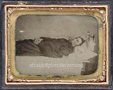 Photo. ca 1859. Postmortem Man in Bed