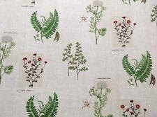 SANDERSON 'PARCHMENT FLOWERS'  CURTAIN CUSHION BLIND FABRIC LINEN 2.3m