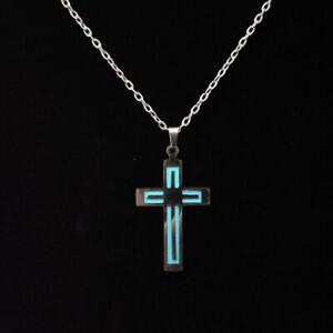 Glow In The Dark Stainless Steel Butterfly Cross Pendant Necklace Women Jewelry