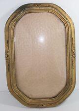 "Vintage Oval Convex Glass Picture Frame Antique Wood Flourish 18.25 x 12.25"""