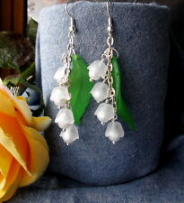 WHITE FROST LILY of the VALLEY Lucite Flowers Pearls Dangle Earrings SPRING