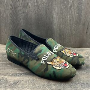 POLO RALPH LAUREN Paxton Camo Tiger Suede Leather Slipper Loafers Men's Size 9