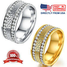 Stainless Steel Greek Key Cubic Zirconia Comfort Fit Wedding Band Unisex Ring