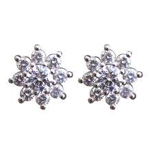 Diamond-Unique 9 Stone Cluster Solid Silver Rhodium Platinum Stud Earrings 50806