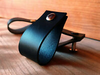 LEATHER PULL, HANDLE FOR DRAWERS,CABINETS,DOORS - BLACK 3mm VEG TANNED LEATHER