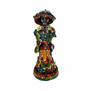 Talavera Catrina Day Of The Dead Figurine 9in Folk Art Mexican Pottery Hand Made