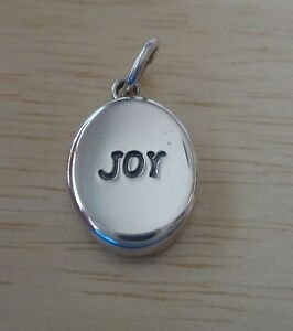 Sterling Silver 3D 18x11mm Oval Puffy says Joy charm