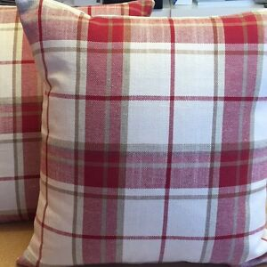 TWO LAURA ASHLEY HANDMADE CUSHION COVERS IN HIGHLAND CHECK IN CRANBERRY
