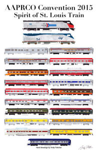 """AAPRCO Spirit of St. Louis 2015 11""""x17"""" Poster Andy Fletcher signed"""