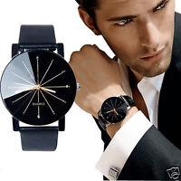Herren Damen Leder Edelstahl Militär Sport Quarz Armbanduhr Wrist Watch