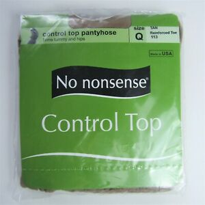 No Nonsense Control Top Pantyhose, Tan, Reinforced Toe, Size Q